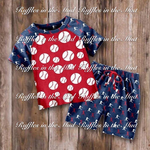 12/18m-6/7 • Red, White, & Navy Baseball Shorts Set