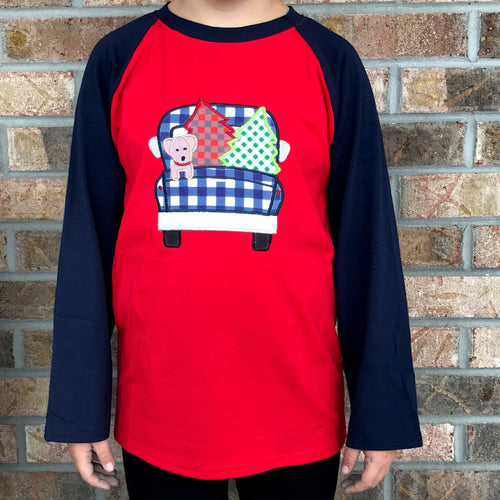 0/3m-7/8 • Embroidered Plaid Christmas Truck Raglan