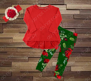 GIRL'S • **NAME BRAND REMAKE** Red & Green Floral Leggings Set • PREORDER CLOSES THURSDAY, AUGUST 30