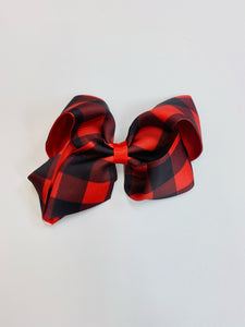 "5"" • Red Buffalo Plaid Double Layer Bow"