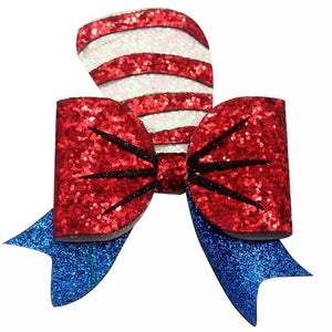 "4.5"" • Cat in the Hat Glitter Bow"