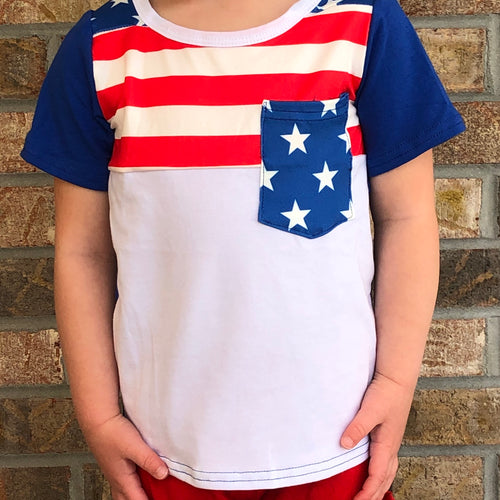 0/3m-7/8 • Stars & Stripes Patriotic Pocket Tee