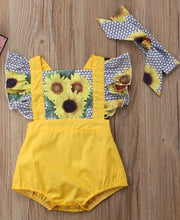 Yellow Sunflower Criss-Cross Romper with Retro Hair Tie