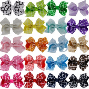 "3"" Quatrefoil Hair Bows - Bulk Set • 20 Colors"