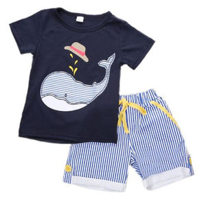 2T, 4T * Mr. Whale Striped Shorts Set