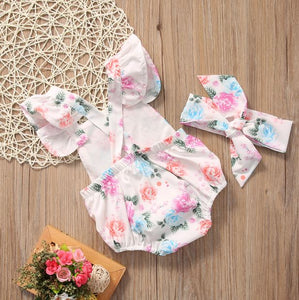 Floral Criss-Cross Onesies with Retro Hair Tie • PREORDER
