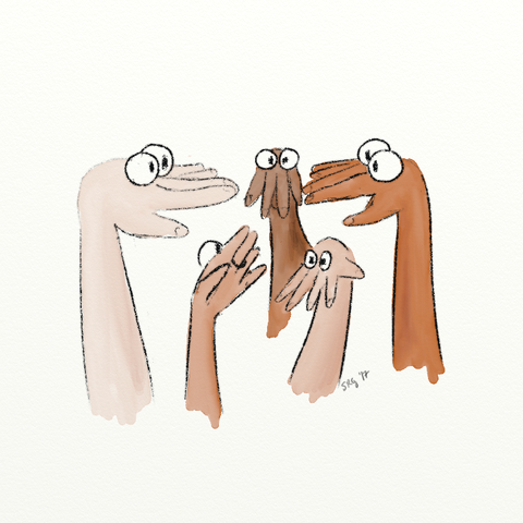 Illustration of hands with puppet eyes on top of them, creating puppet heads