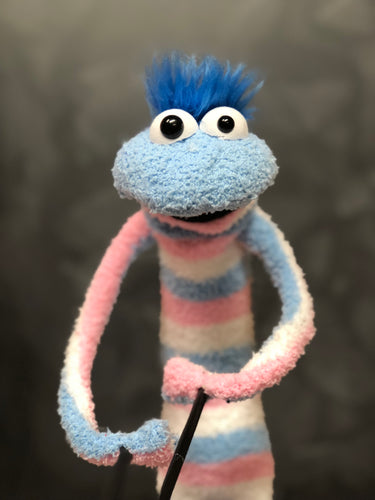 Blue & PInk Sock Puppet with blue hair