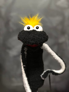 Black Sock Puppet with Yellow Hair