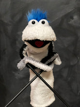 White Sock Puppet With Blue Hair