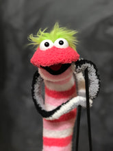 Pink Sock Puppet With Green Hair Black & White Arms