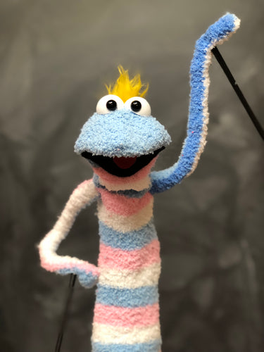 Blue & Pink Sock Puppet With Yellow Hair