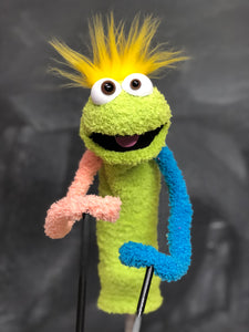 Green sock puppet with peach and blue arms