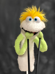 White sock puppet green arms