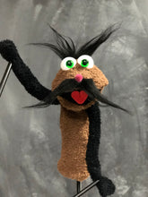 Brown mustachioed sock puppet