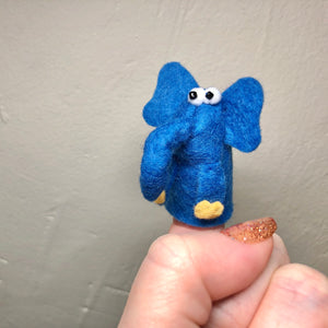 Blue Elephant Finger Puppet