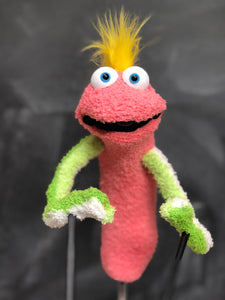 Melon Pink sock puppet with green striped arms