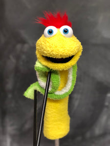 Bright Yellow sock puppet with green striped arms