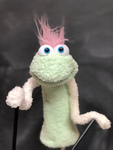 Mint Green sock puppet white arms