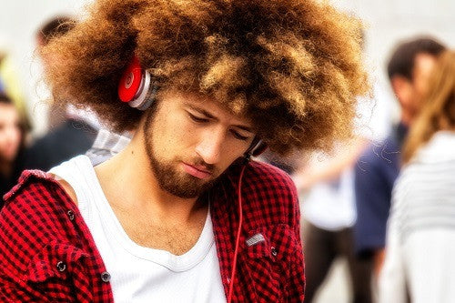 Man Listening to Music with Beats Headphones