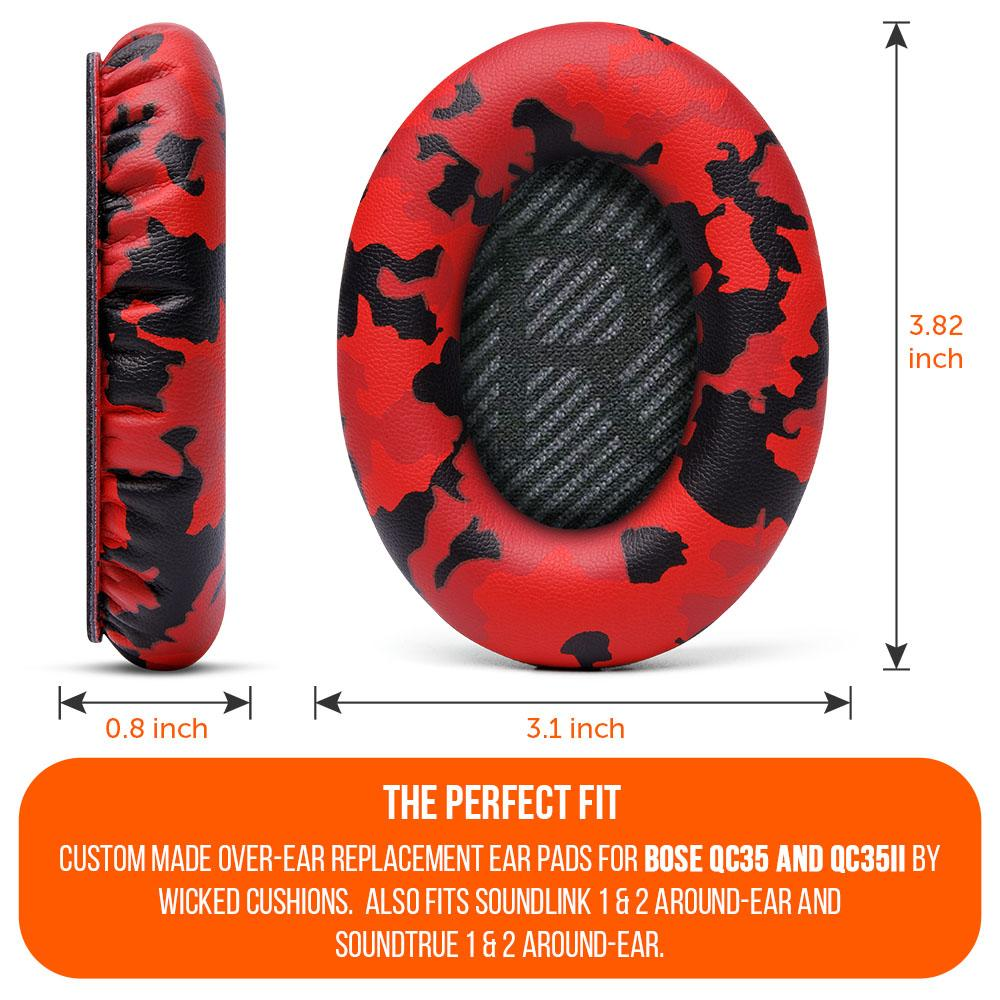Replacement Ear Pads For Bose QC35 | Red Camo