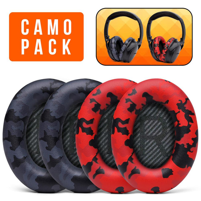 Replacement Earpads For Bose QC35 - Camo Pack 2 (Black & Red Camo) |