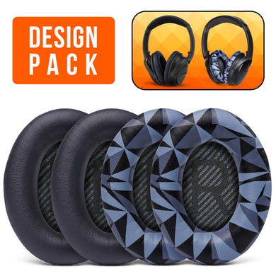Replacement Earpads For Bose QC35 - Design Pack (Black & Geo Grey) - Wicked Cushions