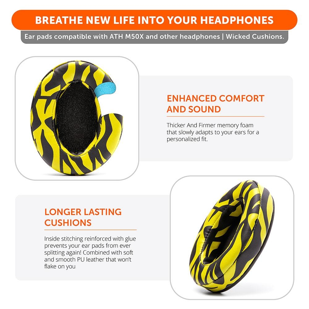 Upgraded Gaming Earpads | Yellow Tiger