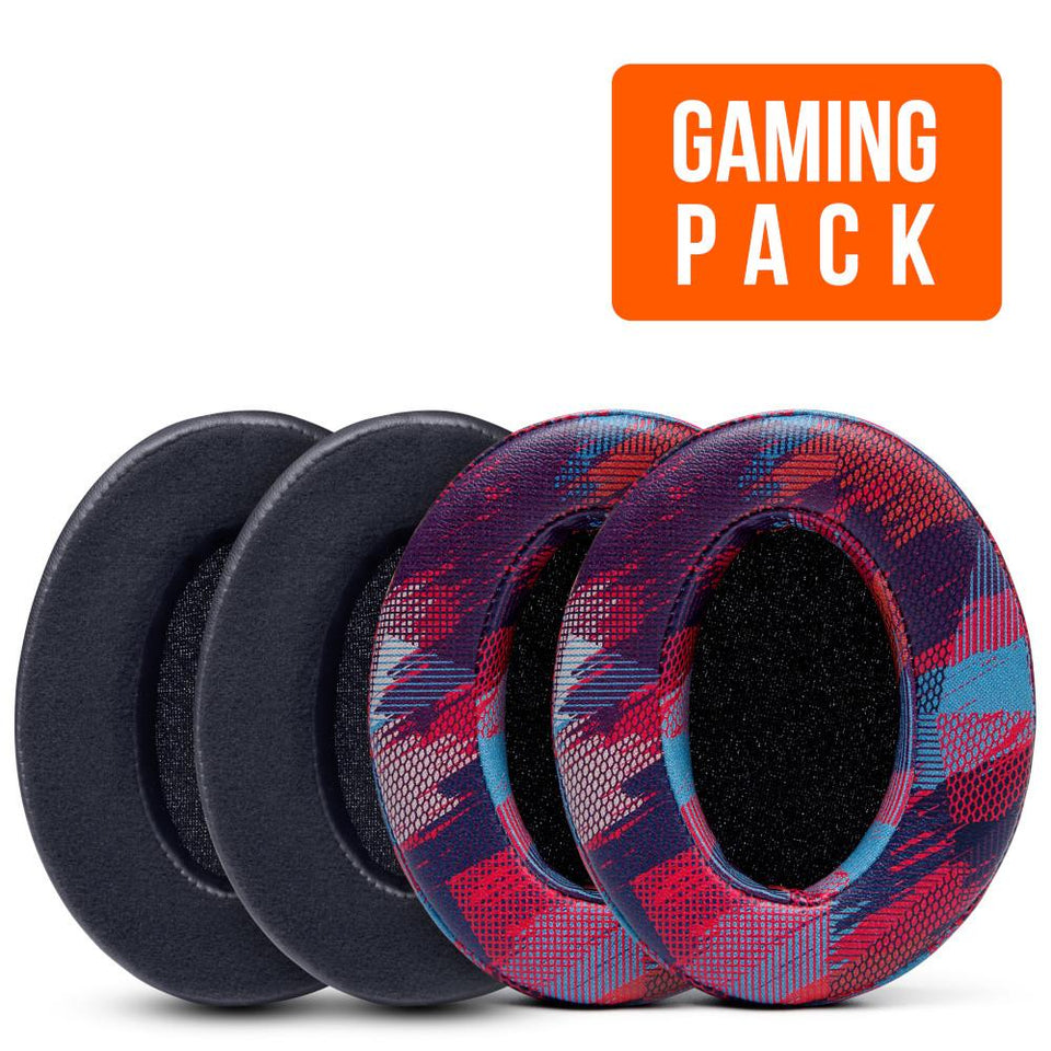 Upgraded Gaming Earpads - Comfort Design Pack (Hybrid Velour & Speed Racer) - Wicked Cushions
