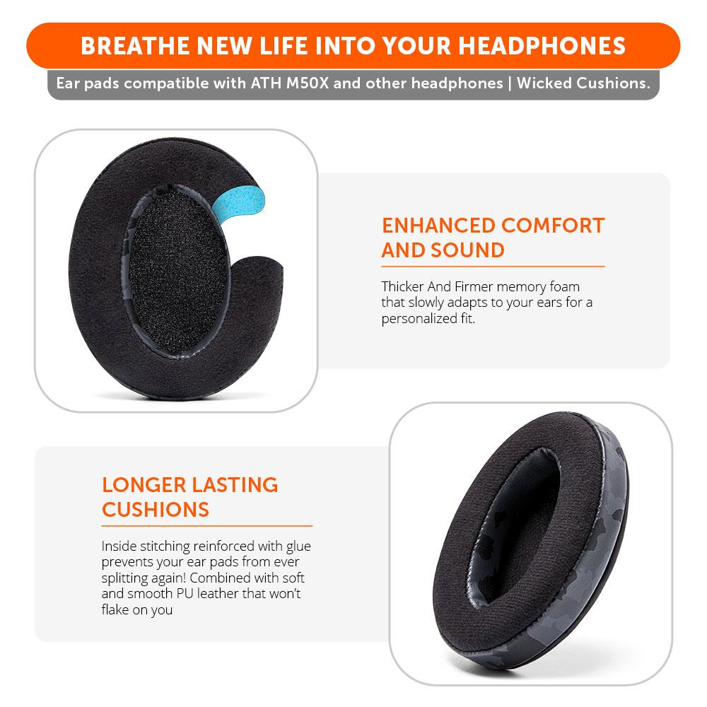 Upgraded Gaming Earpads - Hybrid Velour | Black Camo