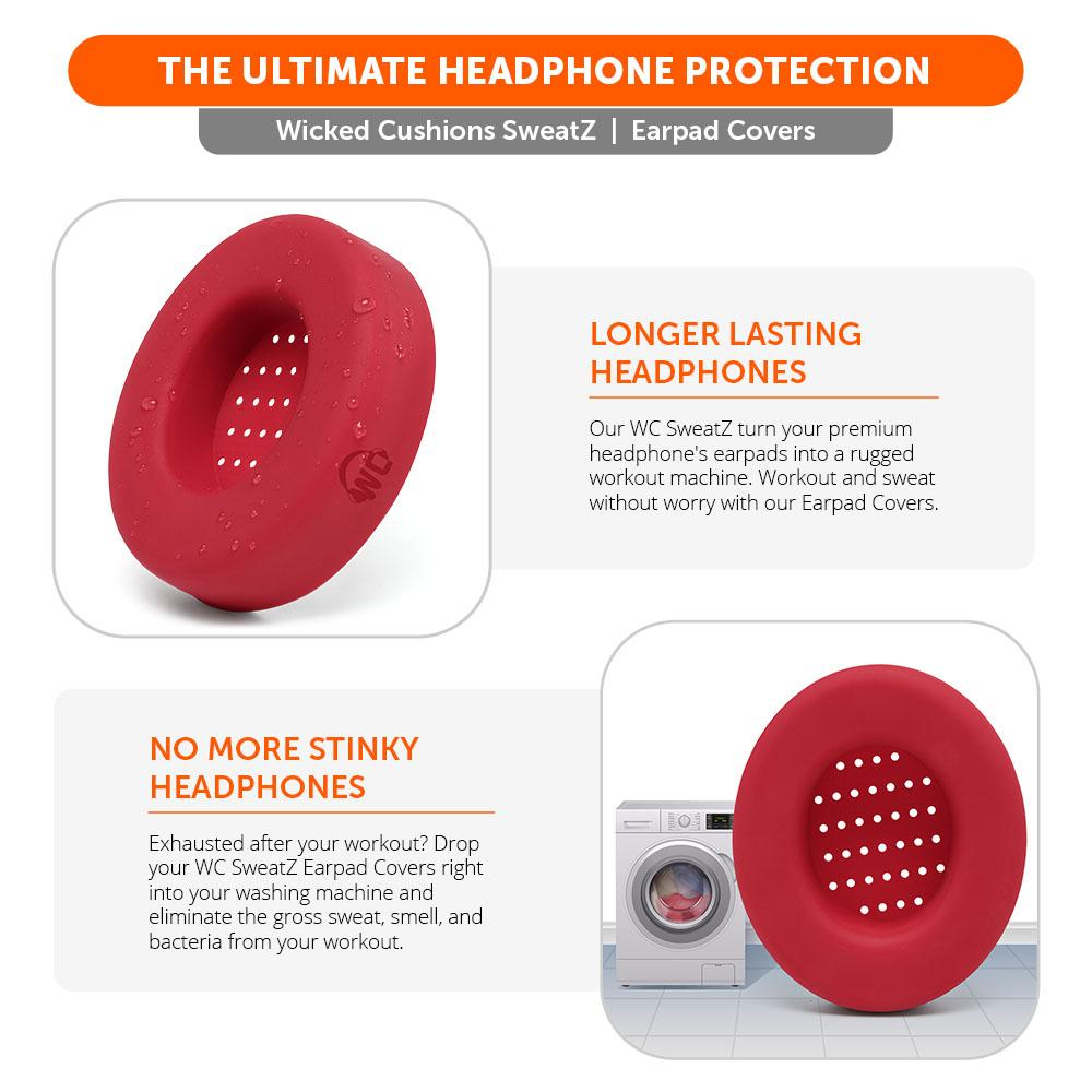WC SweatZ Protective Headphone Earpad Cover | Red