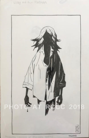 "Mike Mignola Original Art Lisey and the Madman Ink 7.5""x12"""