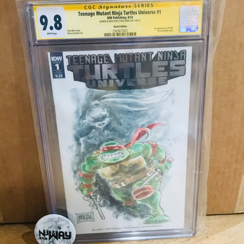 Teenage Mutant Ninja Turtles Universe #1 Blank Cover CGC 9.8 Signed and Sketched by Stan Sakai