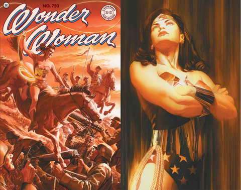 Wonder Woman #750 Alex Ross Shadows Variant Cover Set of 2 SIGNED COA神奇女侠 双套装签名