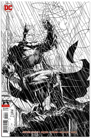 Justice League #1 Jim Lee Inks Only B&W Sketch Variant (DC, 2018) NM