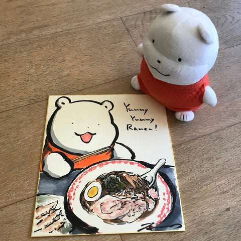 Modori Harada Original Sketch on Shikishi Polar Bear with Ramen (Pokemon Artist / Polar Bear Creator)