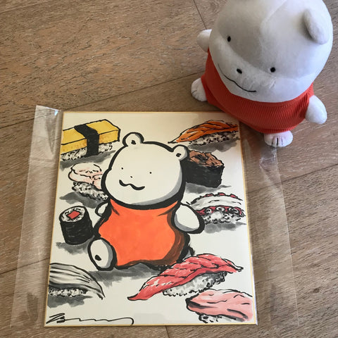 Modori Harada Original Sketch on Shikishi Polar Bear with Sushi (Pokemon Artist / Polar Bear Creator)