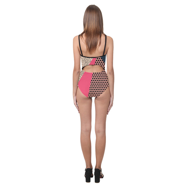 Berry Memphis Open Back Skinny One Piece Swimsuit