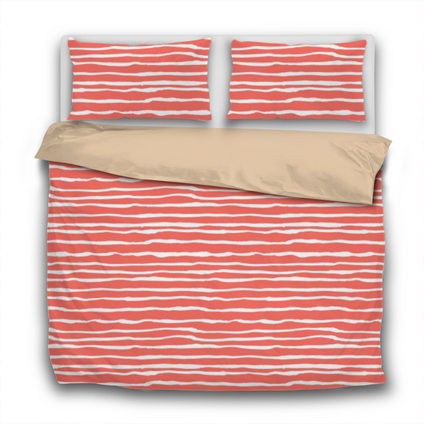 Duvet Set - 3pc Cover + Pillowcases - WO24 Pantone Color of the Year 2019 Living Coral White Stripes