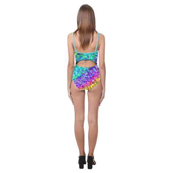 Tri Rainbow Open Back Skinny One Piece Swimsuit
