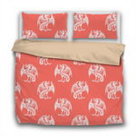 Duvet Set - 3pc Cover + Pillowcases - WO2 Pantone Color of the Year 2019 Living Coral White Dragons