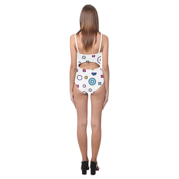 Bondi Open Back Skinny One Piece Swimsuit White Straps