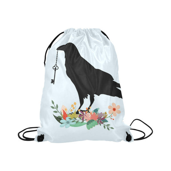 Black Crow Drawstring Bag