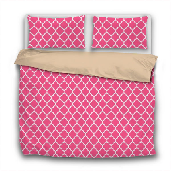 Duvet Set - 3pc Cover + Pillowcases - WO19 White Lattice Candy Pink