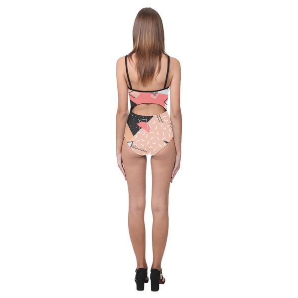 Peach Fizz Open Back Skinny One Piece Swimsuit
