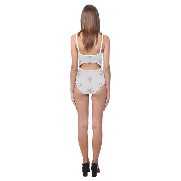 Grey Jewels Open Back Skinny One Piece Swimsuit