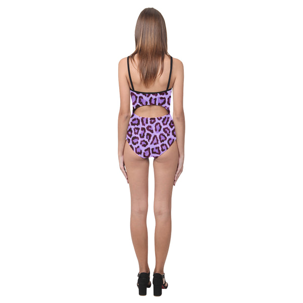 Purple Leopard Open Back Skinny One Piece Swimsuit