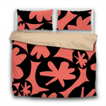 Duvet Set - 3pc Cover + Pillowcases - MFSP16 Woodcut Abstract Black and Pantone Color of the Year 2019 Living Coral