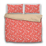Duvet Set - 3pc Cover + Pillowcases - WO26 Pantone Color of the Year 2019 Living Coral White Wishes