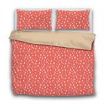 Duvet Set - 3pc Cover + Pillowcases - WO31 Pantone Color of the Year 2019 Living Coral White Stars